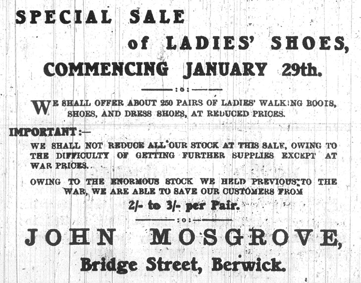 Advert for sale at Mosgroves Shoes