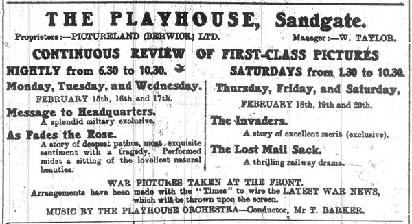 Advert for films being shown at The Playhouse, Berwick