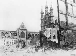 Louvain town hall in ruins