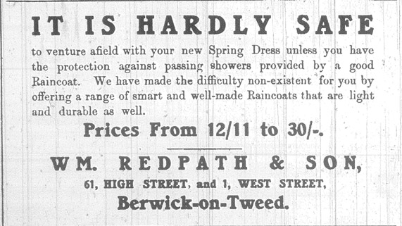 Advert for Redpath and Son, High Street, Berwick, from the Berwick Advertiser 9th April 1915
