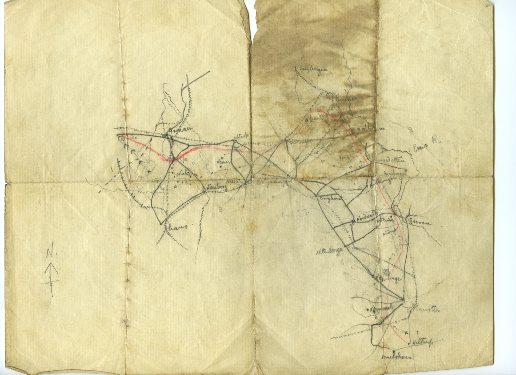 The original pencilled escape map. It is remarkable that this map, drawn on thin, poor quality paper, survived the arduous ten-day escape journey. it is yet more remarkable that it still exists, a century after its creation.