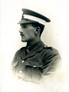 Tustin as an officer cadet in 1917. After his escape, he received a commission and was posted to garrison duty in South Africa, where he served out the rest of the war.