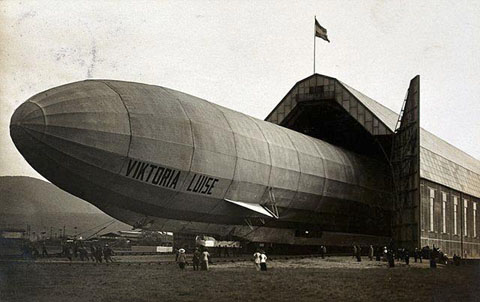 World War One: the German zeppelin Viktoria Luise emerging from its hangar. Wellcome Library, London.  Copyrighted work available under Creative Commons Attribution only licence CC BY 4.0.