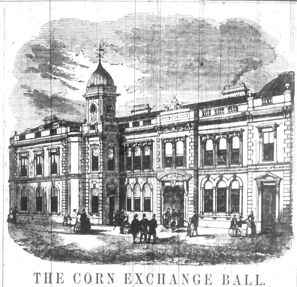 Image from the Berwick Advertiser 4 December 1858, opening of the newly erected Corn Exchange, Berwick-upon-Tweed.