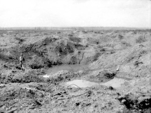 View from crater on Hill 60 towards Zillebeke, 6 July 1917