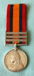 Queen's South African Medal with three bars.