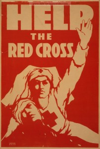 WW1 Propaganda poster shows Red Cross Nurse holding a wounded soldier as she signals for help.