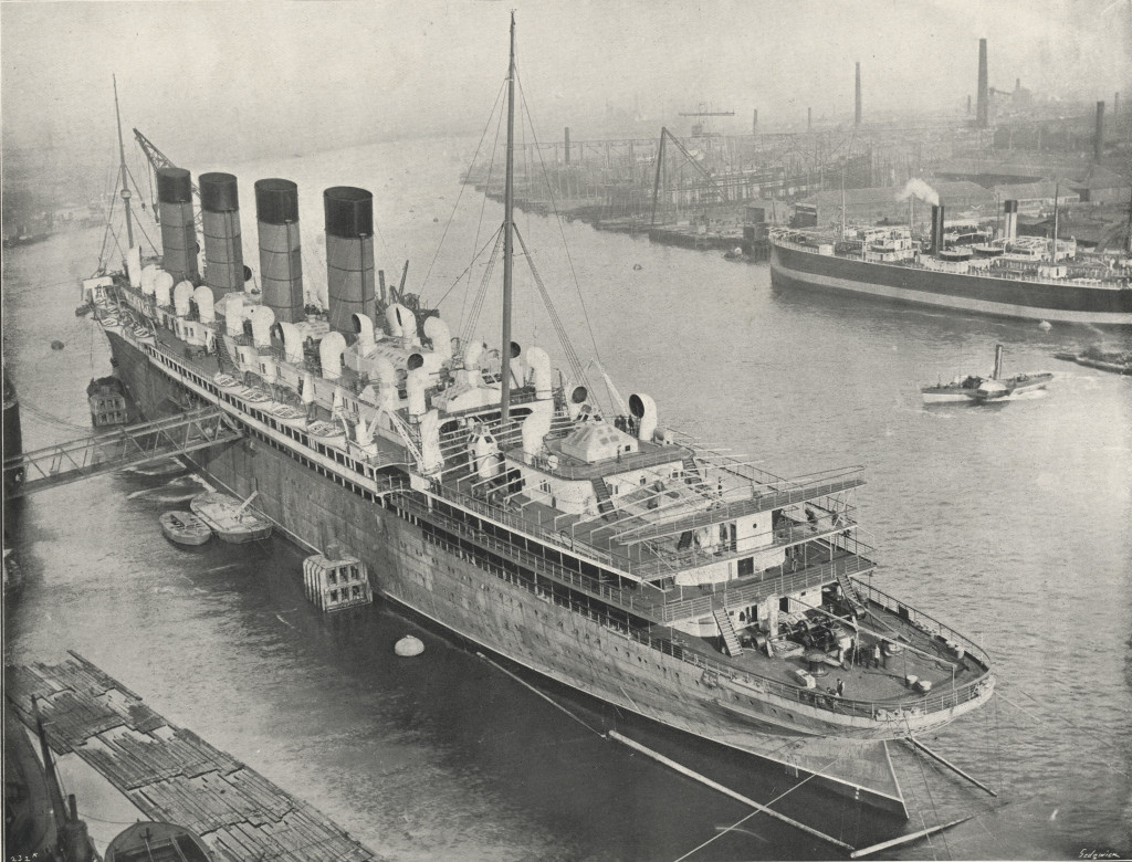 The Mauretania during her fitting out at Wallsend.