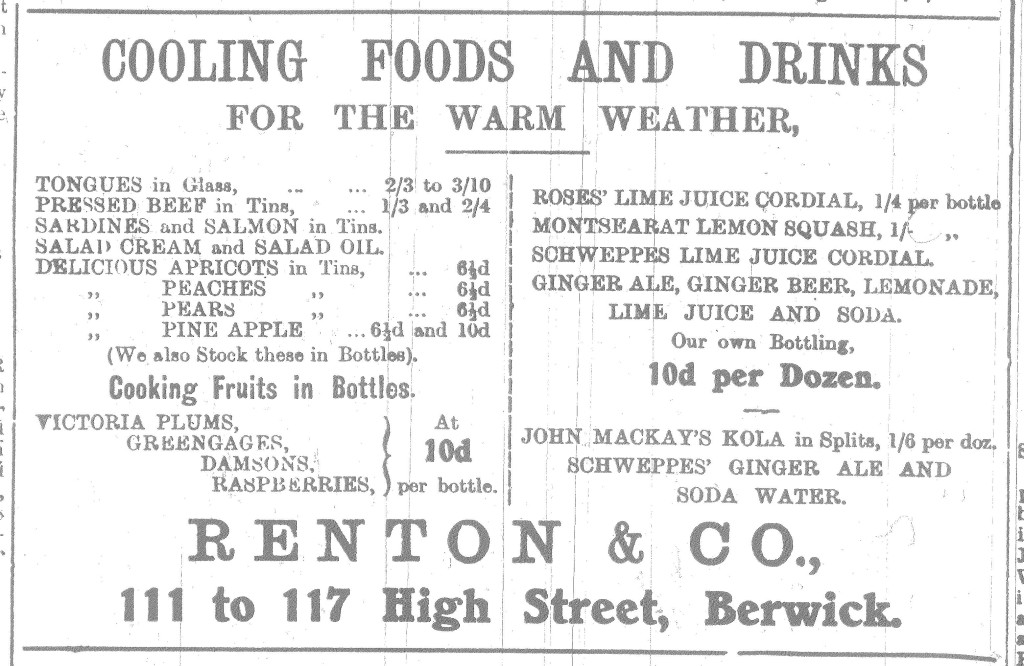 Berwick Advertiser 25 June 1915 Renton & Co. Advert