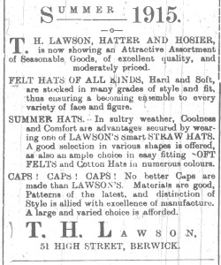Advert for T. H. Lawsons. Berwick Advertiser 4 June 1915
