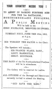 Berwick Advertiser 11 June 1915 Advert- Your Country Needs You