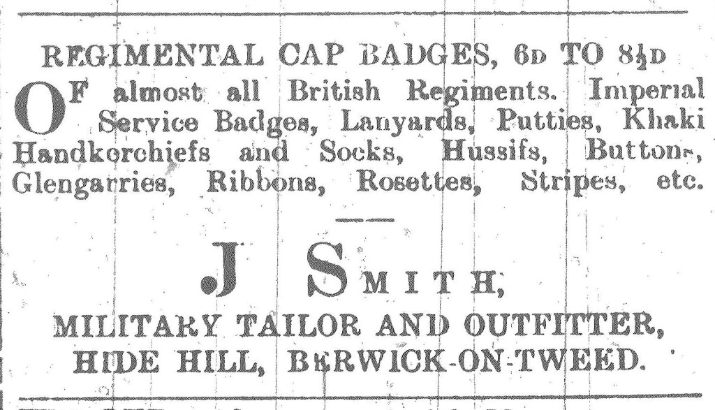 Berwick Advertiser 30 July 1915. J Smith Advert