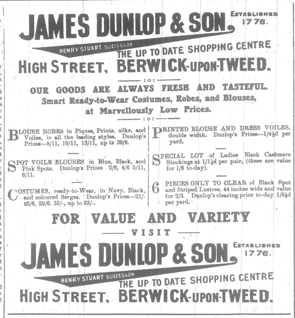 Berwick Advertiser James Dunlop & Son Advert