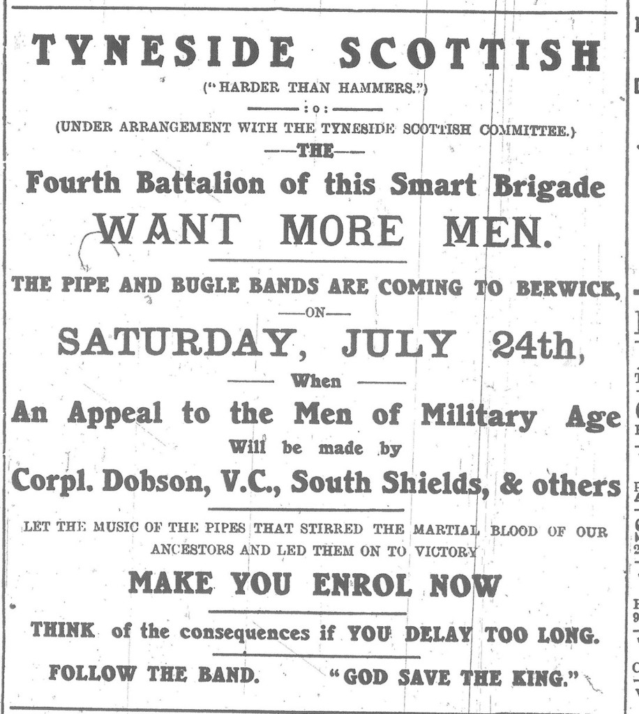 BAdvertisr 23 July 1915 Tyneside Scottish Advert RESIZED larger