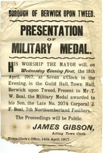 Presentation of Military Medal to J E Boal. Reference no: D13-1-83-001