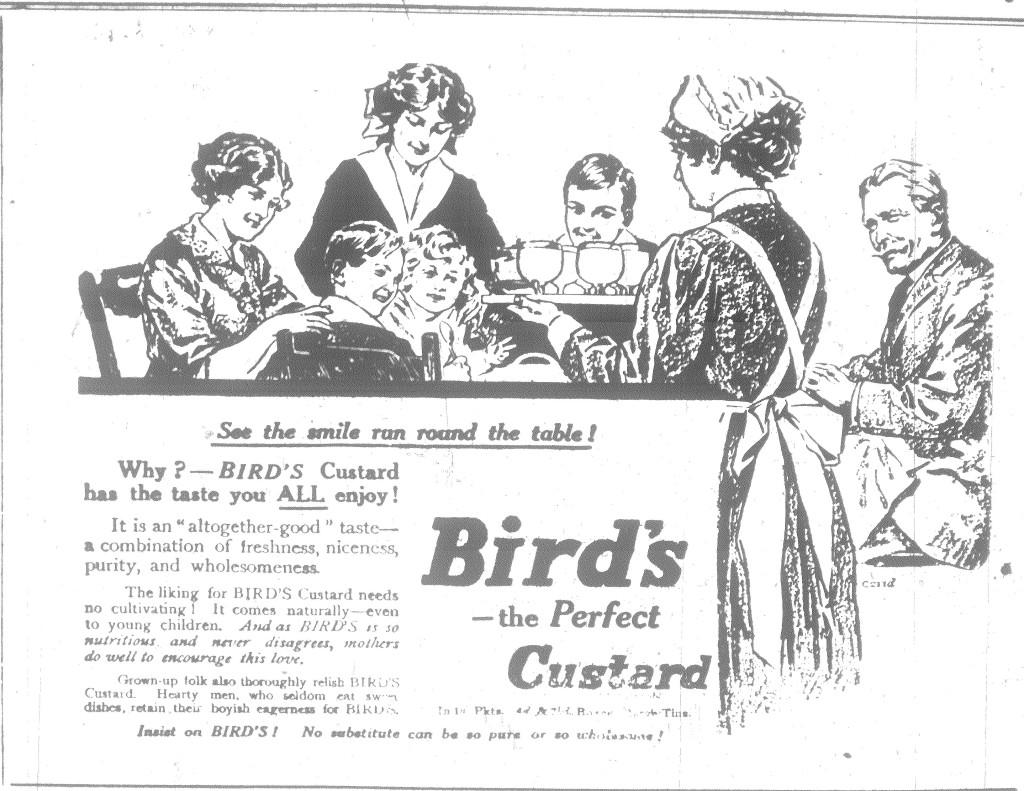 Berwick Advertiser 20 August 1915. Birds Custard Advert