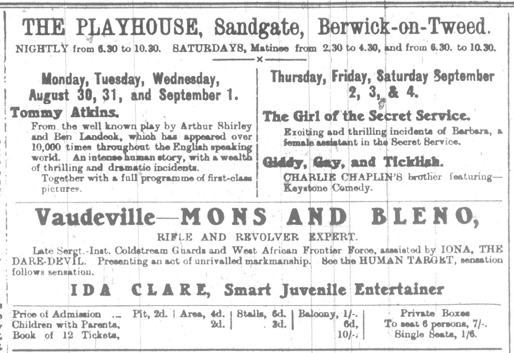 Berwick Advertiser, 27 August 1915 Playhouse advert.
