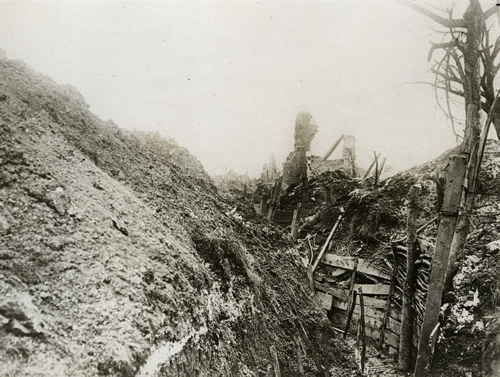WW1 trench in Gommecourt, France - Source  UBC Library