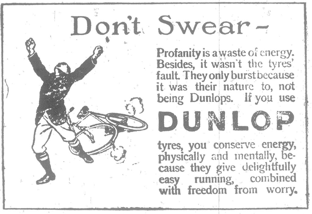 bAdvertiser 6 Aug 1915 Don't Swear Dunlop Advert resized