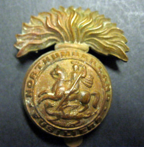 Northumberland Fusiliers Cap Badge WW1.