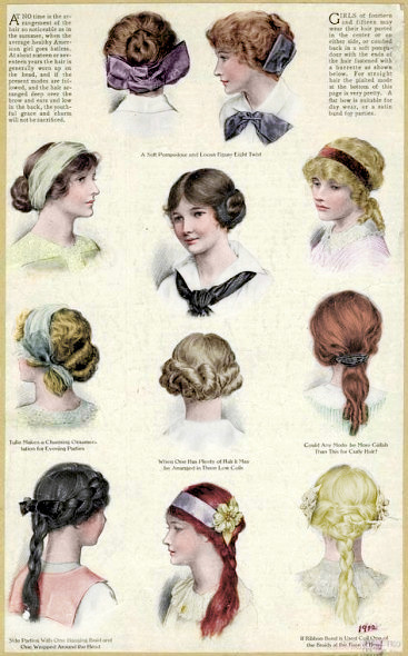 Edwardian girls hairstyles - Image from unknown periodical.