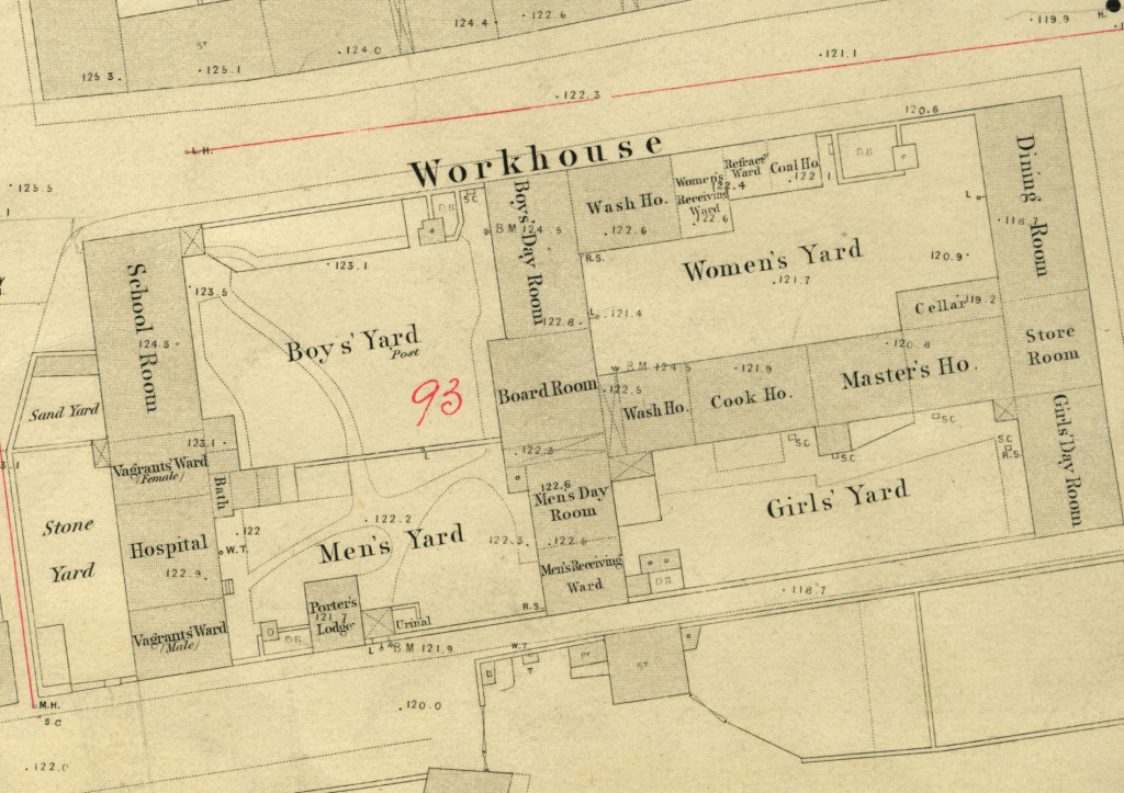 BA-U10-2 SHEET , 1852 cropped. Pictured above the layout of the Berwick Workhouse, where the inquest on Gordon Kenward was held in the Board Room (centre of image). © Berwick Record Office.