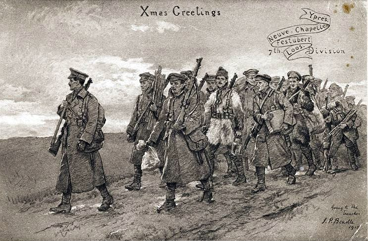 A Christmas postcard showing a group of soldiers on the march in World War One. Creative Commons Attribution 4.0 International license.