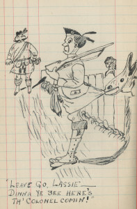 One of a number of funny cartoon drawings found within the diary