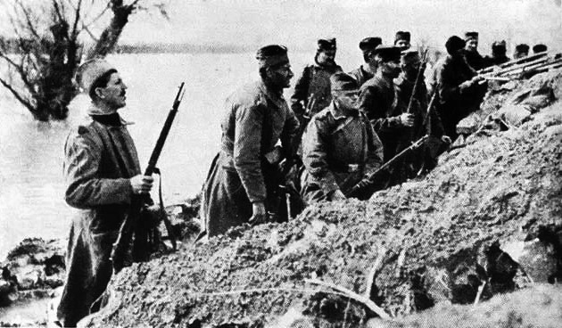 Picture of Serbian infantry on Ada Ciganlija during the First World War. Wikimedia Commons