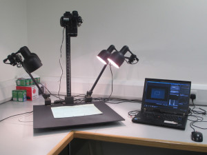 Camera stand and laptop