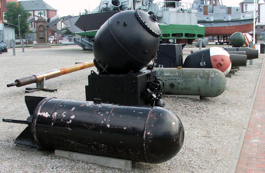 Different types of sea mines at the German Marine Museum. © Photographer - euro-t-guide.com.
