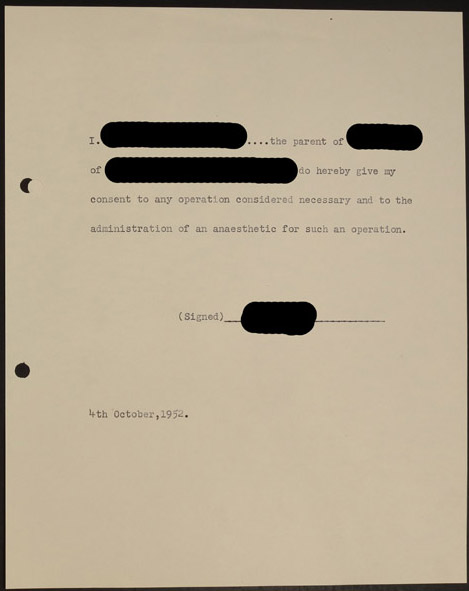 Permissions slip for 'any operation necessary' from file HOSP/STAN/07/01/01/2558.