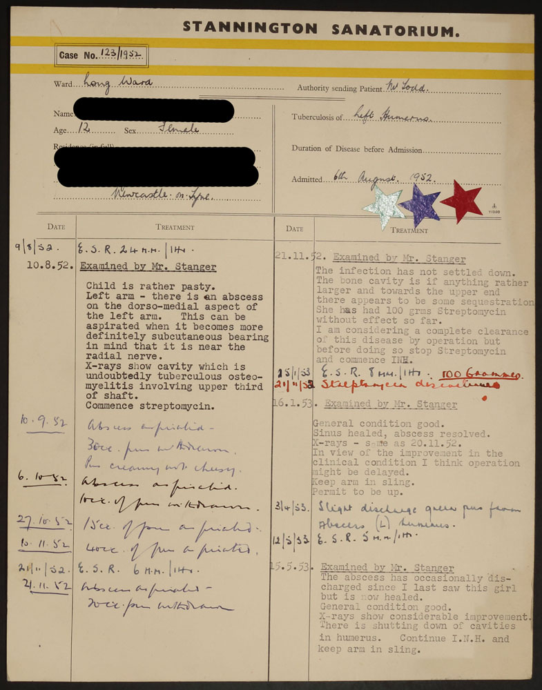 Treatment card from file HOSP/STAN/07/01/01/2654, showing stars indicating all three antibiotics were used.