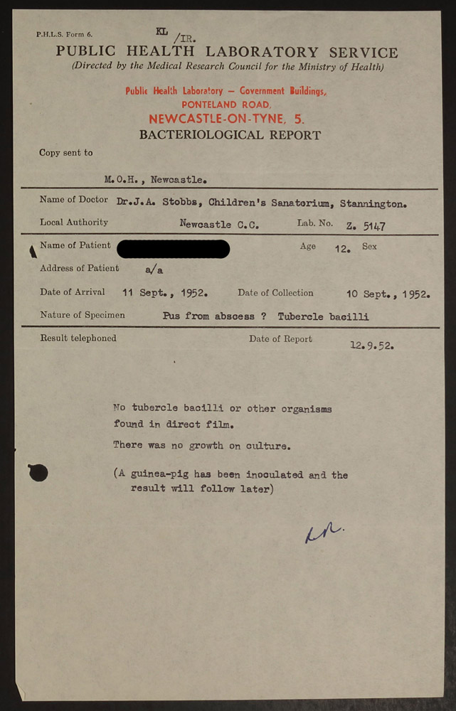 Bacteriological report from file HOSP/STAN/07/01/012654, showing the results of a sputum test.