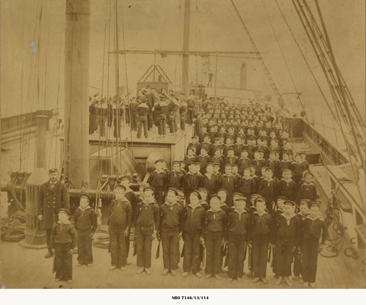 Boys on parade on the deck of H.M.S Wellesley c.1900
