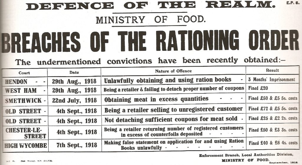 World War One 'Breaches of the Rationing Order' poster. © This artistic work created by the United Kingdom Government is in the public domain. Wikimedia Commons.