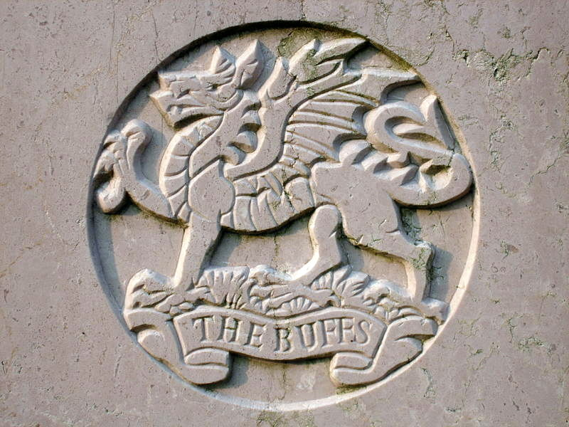 Coat of Arms of The Buffs as inscribed on a grave in Stanley Military Cemetery, Hong Kong.