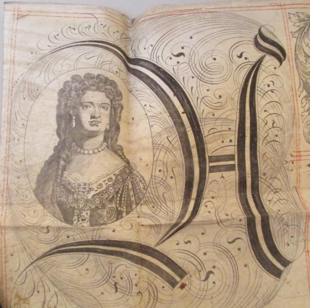 Queen Anne, from an Exemplification of Recovery, 1710.