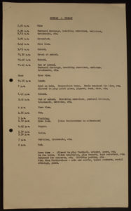 The daily schedule for patients in 1966. (click to enlarge)