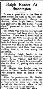 Report on Ralph Readers visit to Stannington in the Morpeth Herald, 29th January 1952