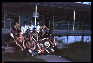 The Scout Troops posing for a photograph on the steps of a hospital veranda (NRO 10510/3/15)